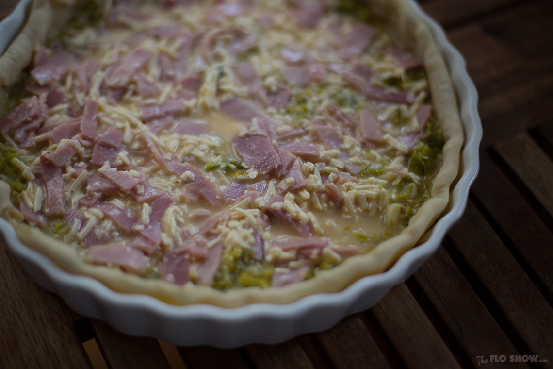 Leek quiche recipe - eggs ham and cheese on www.TheFloShow.com