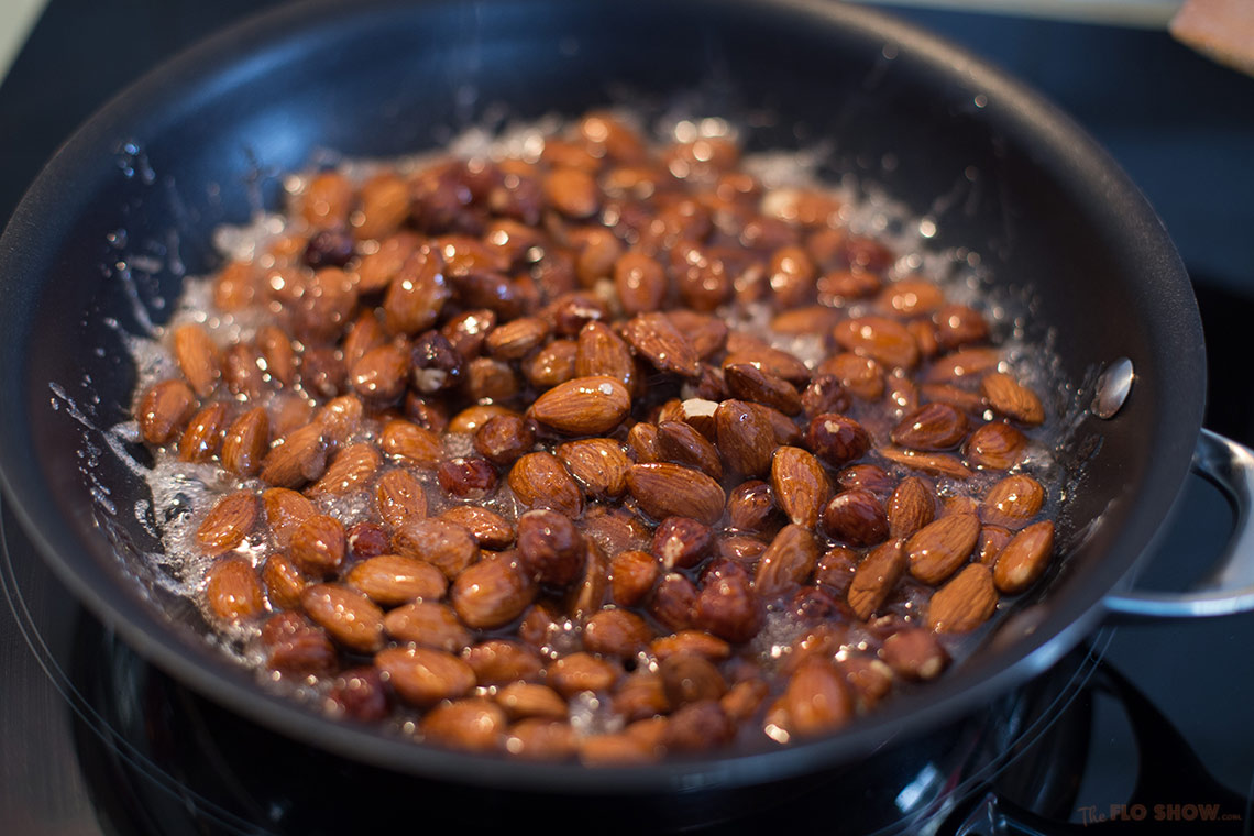 Praslin recipe - boiling sugar and nuts to a caramel on www.TheFloShow.com