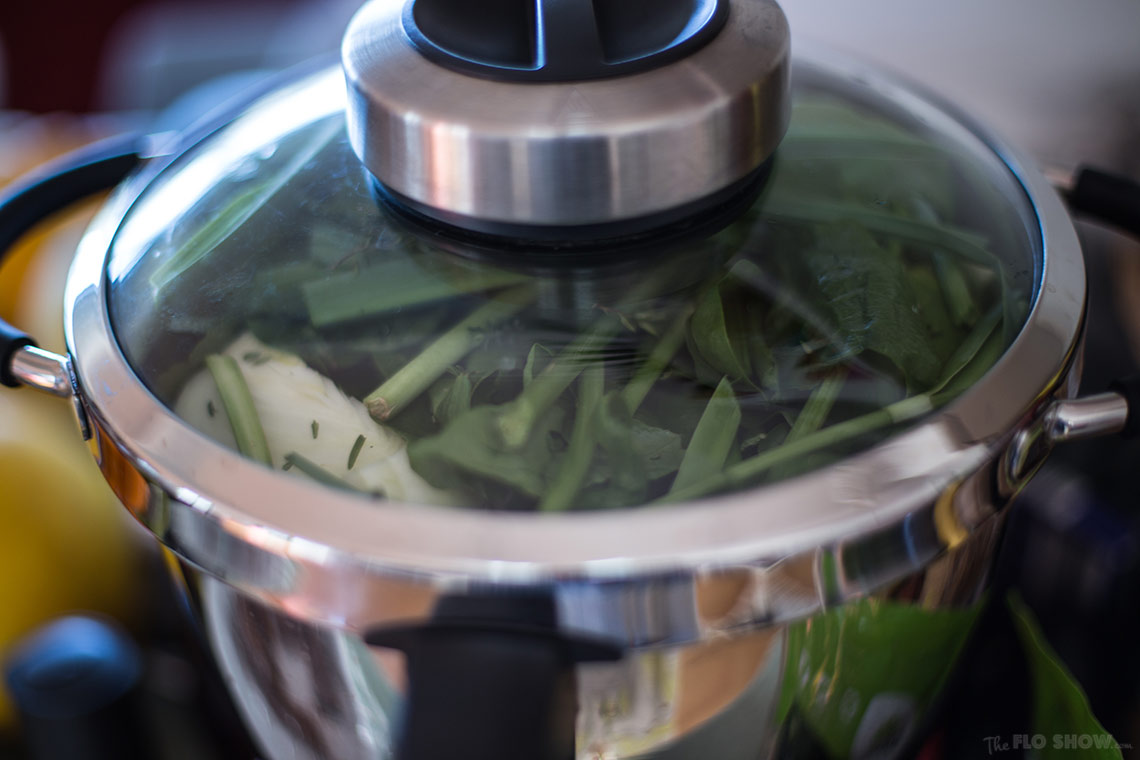 Home-made vegetable stock made easy in the Magimix Cook Expert on www.TheFloShow.com