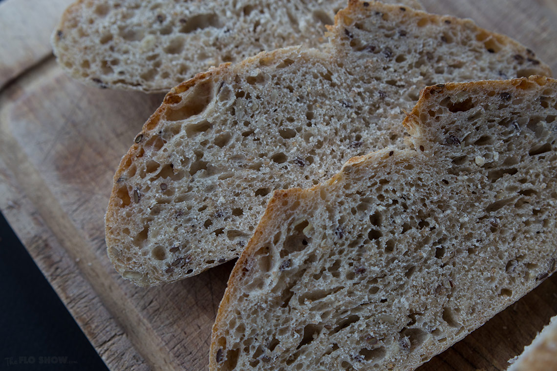 How to make your first home-made sour-dough bread from scratch - warm flavoursome slices on www.TheFloShow.com