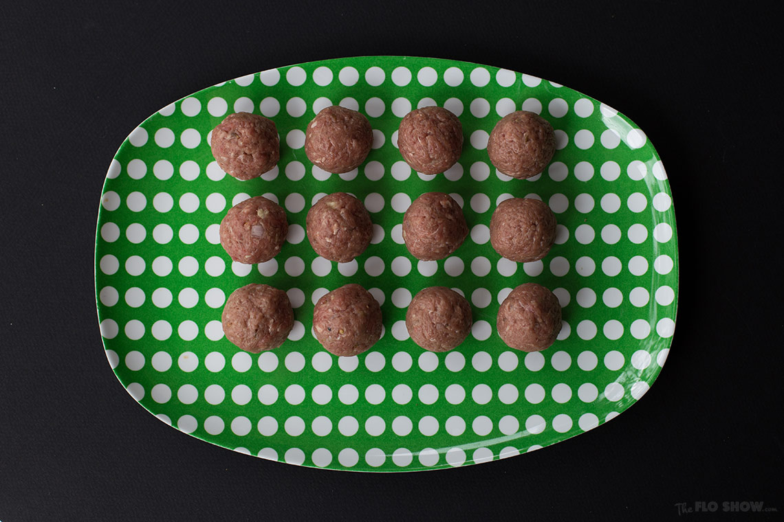 Japanese beef mince balls with daikon stir fry - Beautiful little spicy balls on www.TheFloShow.com
