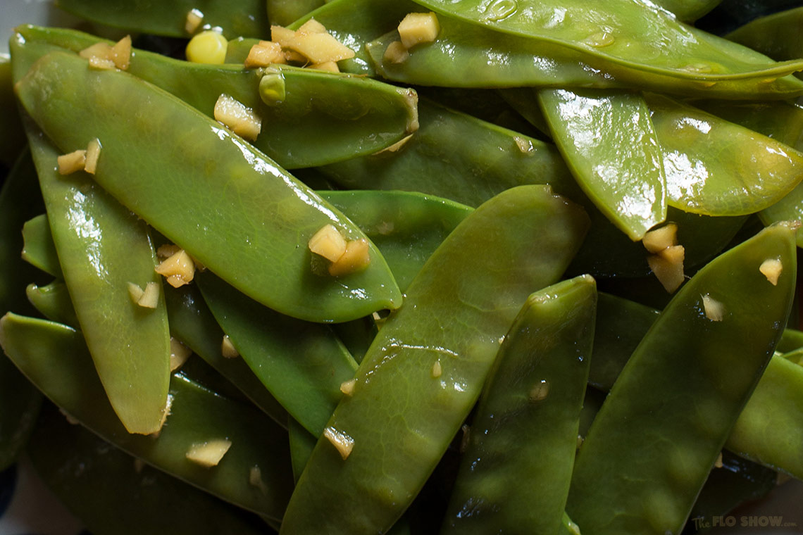 Snow peas in sesame oil and ginger on www.TheFloShow.com