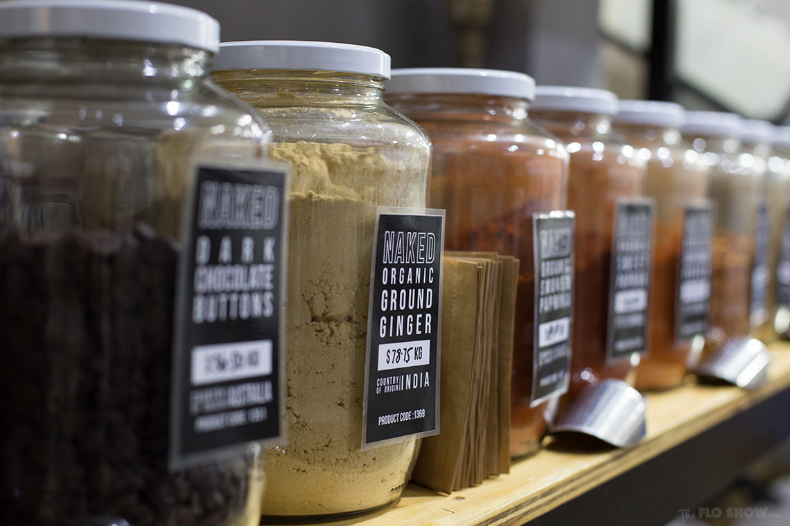 Store review - Naked Food in Newtown - bring you own container and buy ground spices on www.TheFloShow.com