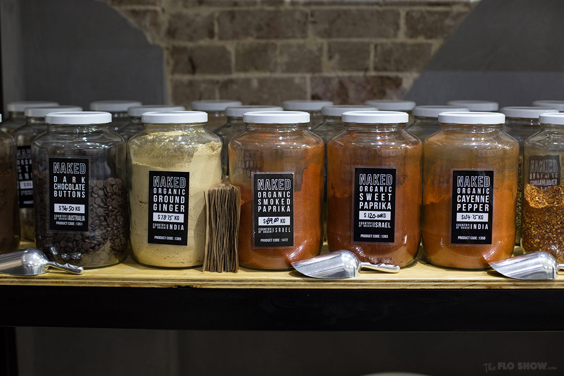Store review - Naked Food in Newtown - bring you own container and buy spices on www.TheFloShow.com