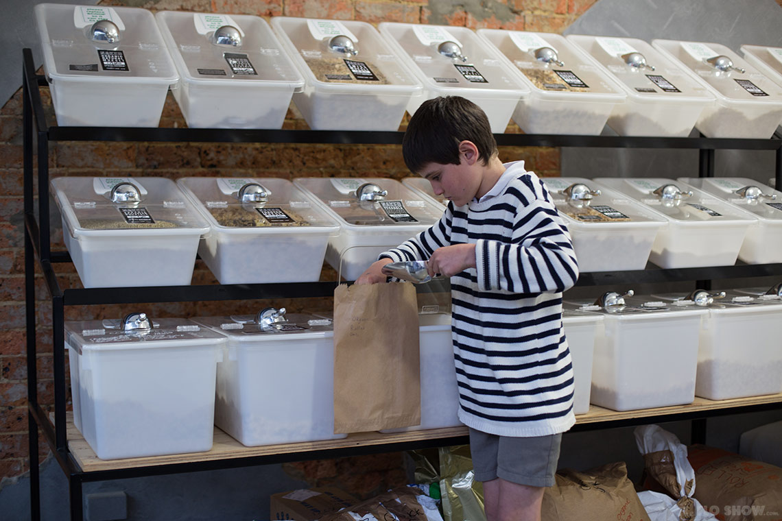 Store review - Naked Food in Newtown - pour some bulk flour in your bag on www.TheFloShow.com
