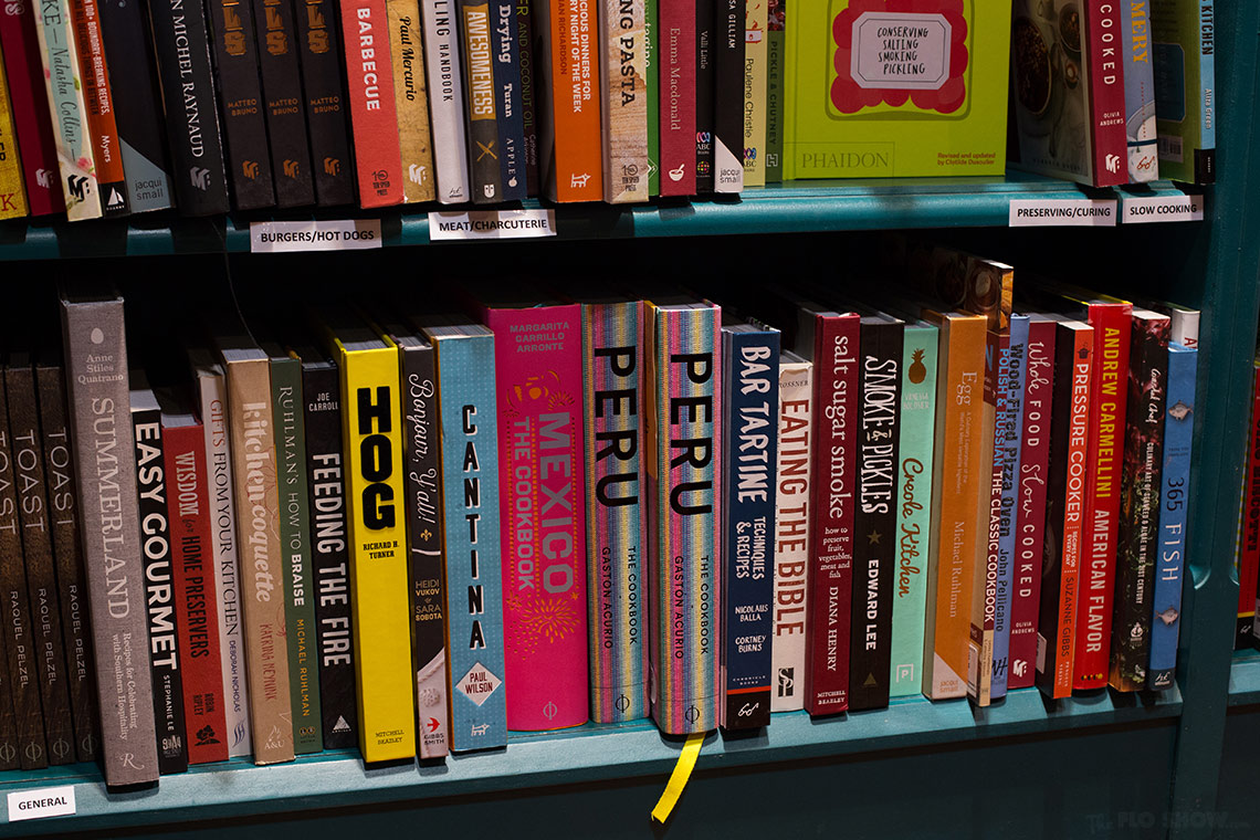 Bookstore review - Better read than dead in Newtown - top notch cookbook section on www.TheFloShow.com