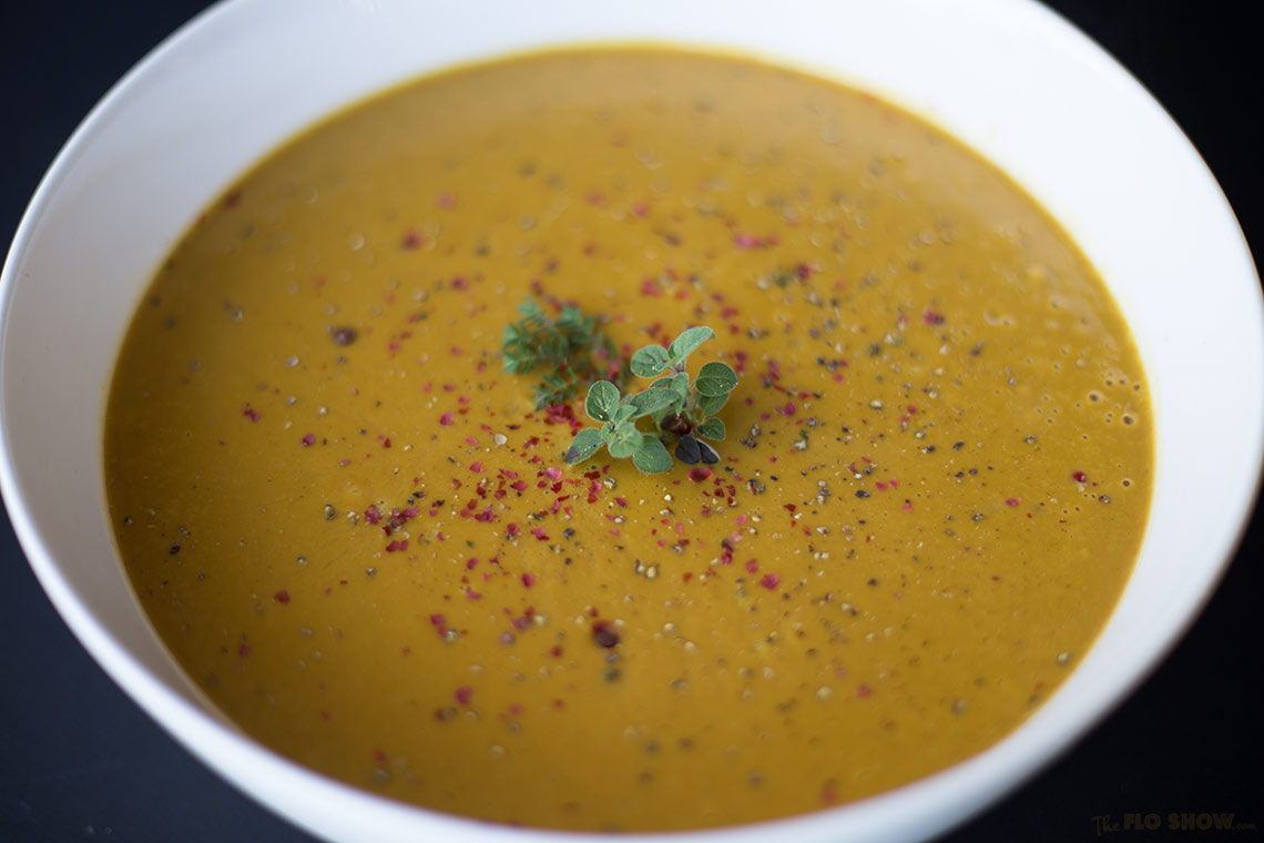 Chestnut and pumpkin soup recipe on www.TheFloShow.com
