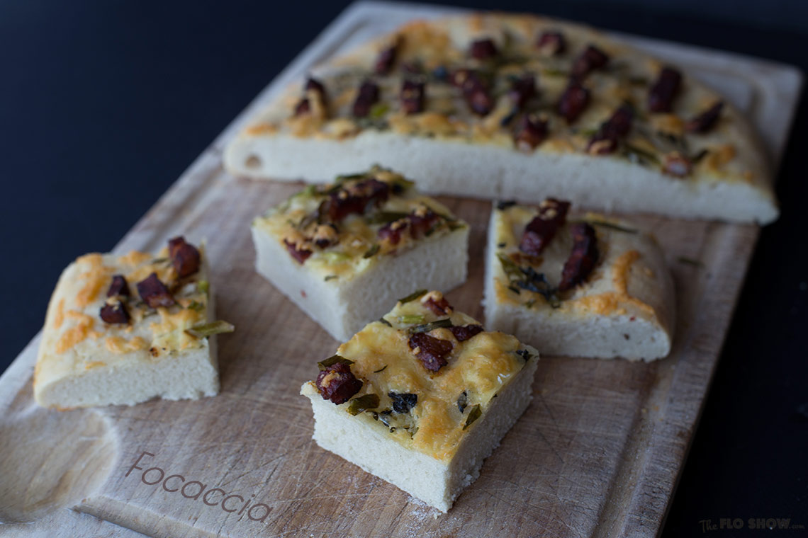 Focaccia with speck and garden herbs to share with friends and a glass of wine on www.TheFloShow.com