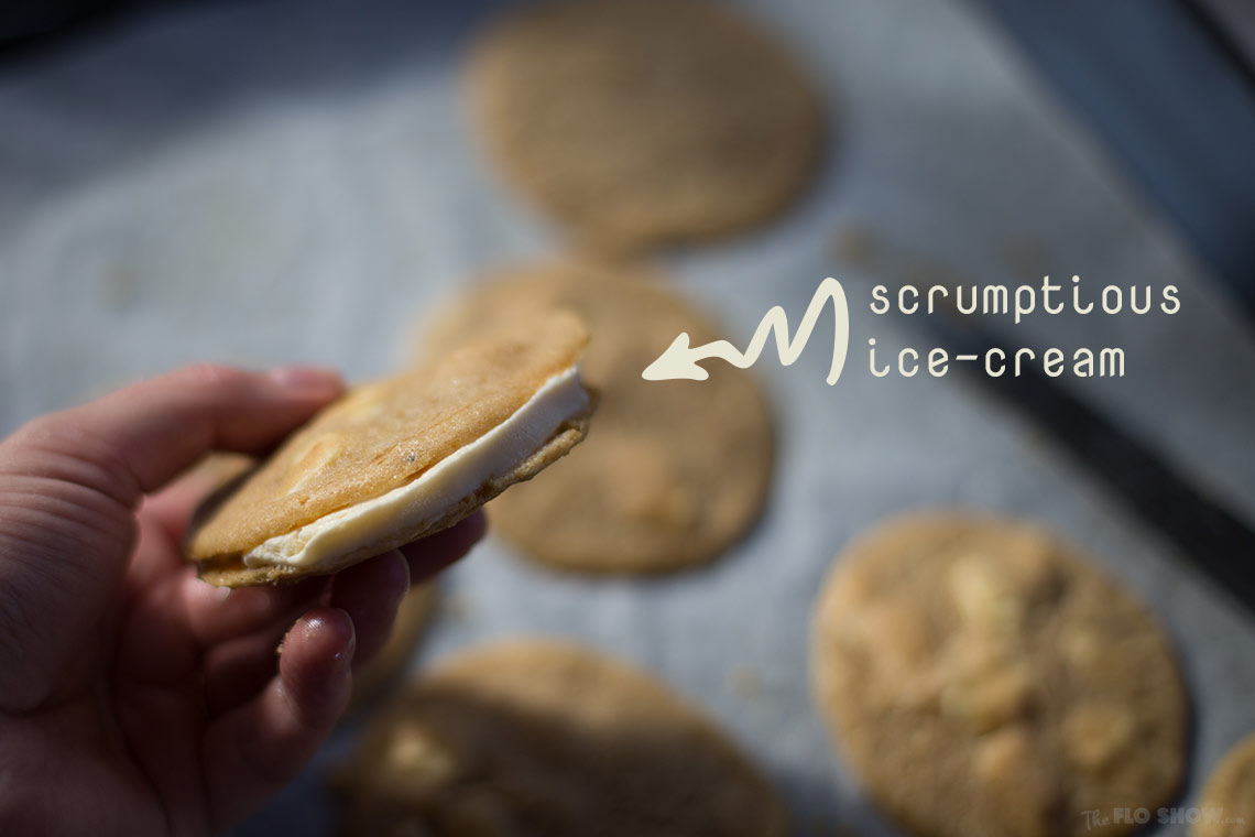 Freaking awesome French white chocolate cookies - make it an ice-cream sandwich on www.TheFloShow.com