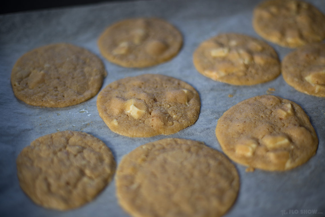 Freaking awesome French white chocolate cookies - moist and basically undercooked gooey delights on www.TheFloShow.com