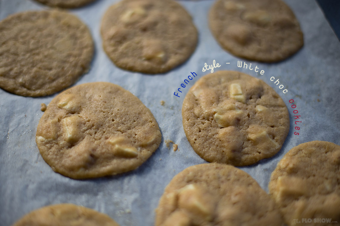 Freaking awesome French white chocolate cookies on www.TheFloShow.com