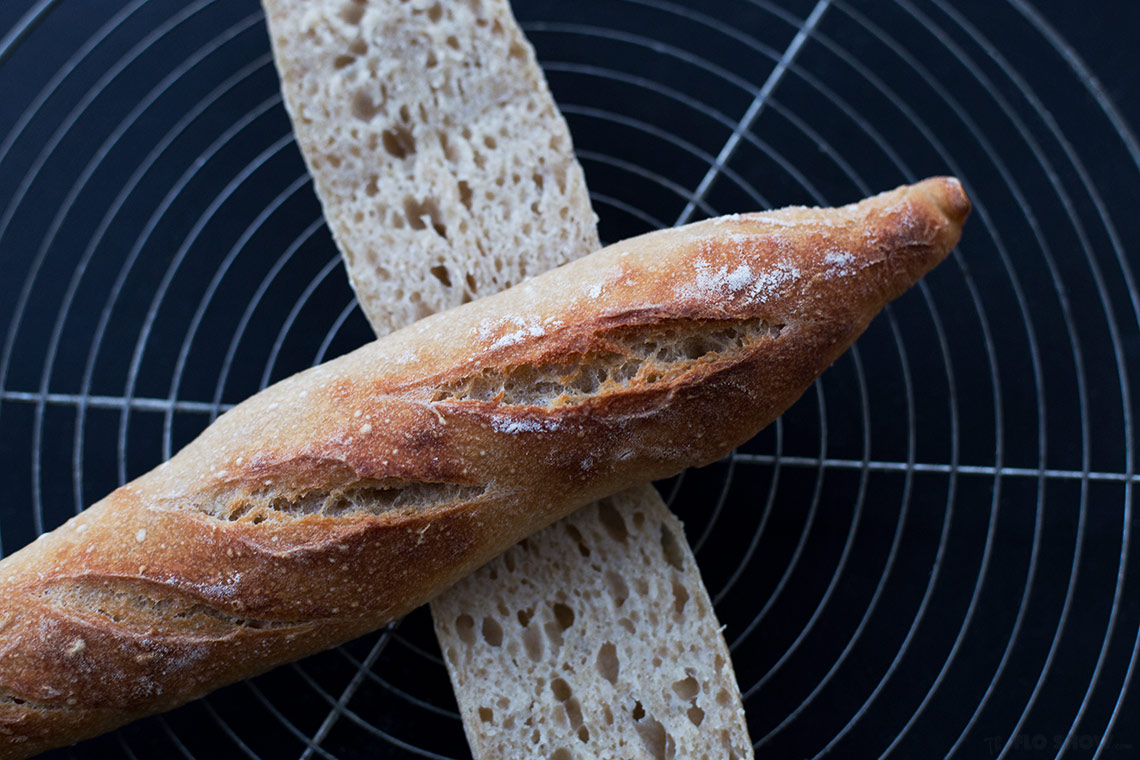 French sour-dough baguette recipe - crispy crust and airy inside on TheFloShow.com