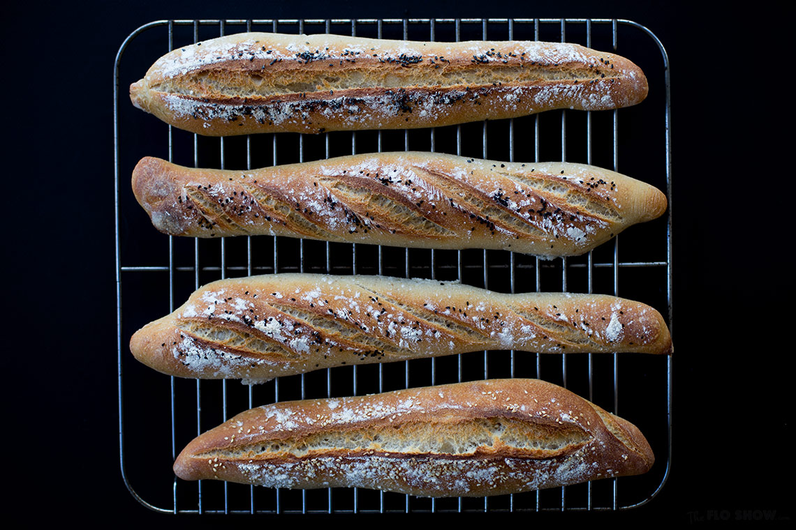 French sour-dough baguette recipe - organic shape but soooo tasy on TheFloShow.com
