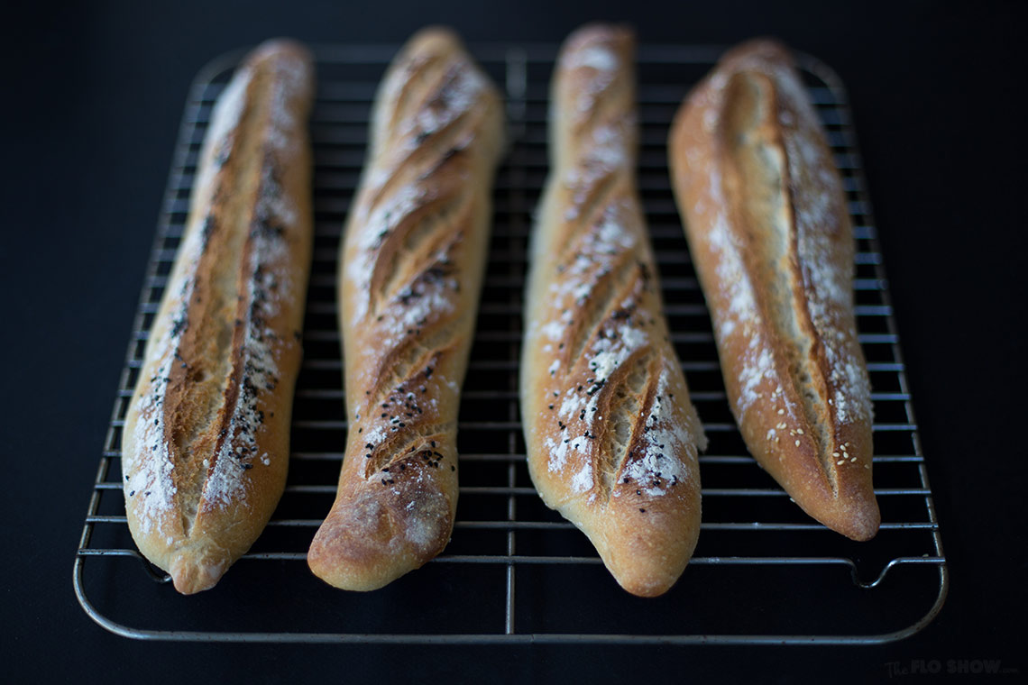 French sour-dough baguette recipe - try it this is a rewarding bread recipe on TheFloShow.com