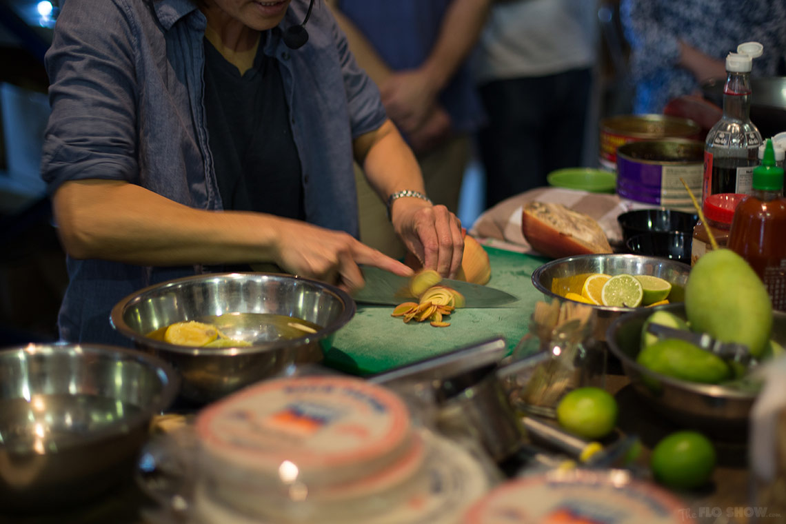 Miss Chu tuckshop - rice paper roll class in Sydney - learn how to prepare a banana blossom- on www.TheFloShow.com