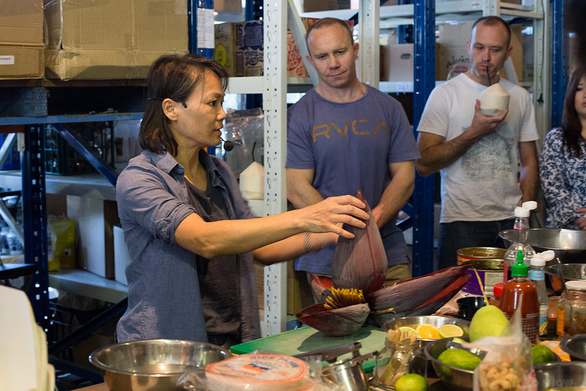 Miss Chu tuckshop - rice paper roll class in Sydney - learn how to prepare a banana flower - on www.TheFloShow.com