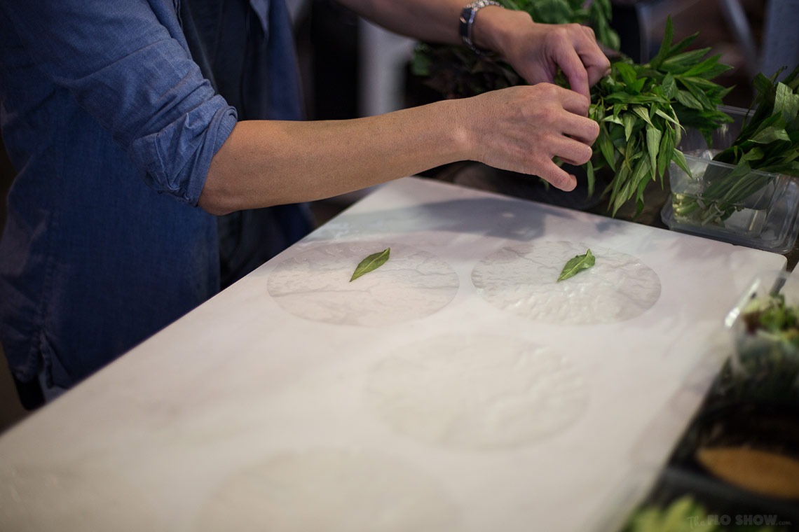 Miss Chu tuckshop - rice paper roll class in Sydney - placing the leaves is key - on www.TheFloShow.com