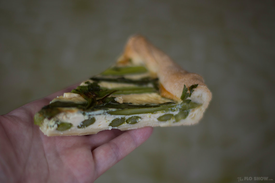 Simple French Asparagus Quiche recipe - delicious warm or cold on www.TheFloShow.com