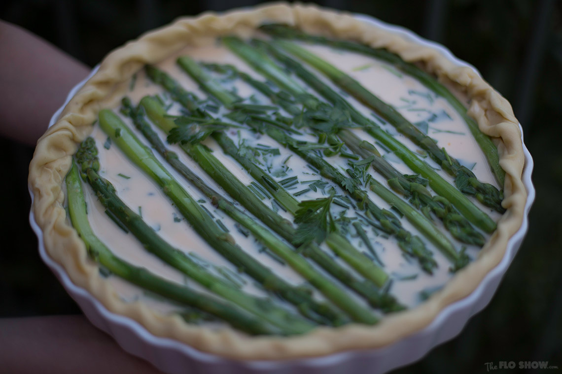 Simple French Asparagus Quiche recipe - use fresh and blanched asparagus on www.TheFloShow.com