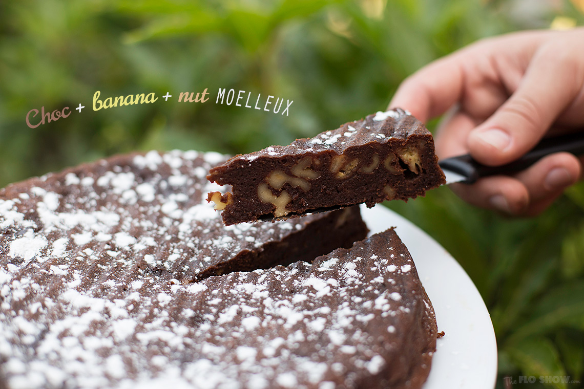 Chocolate, banana and nut French moelleux on www.TheFloShow.com