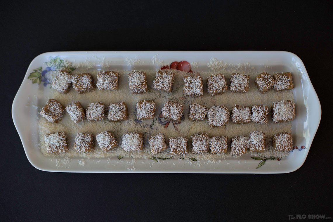White chocolate, orange and dried fruits cubes for a snack on www.TheFloShow.com