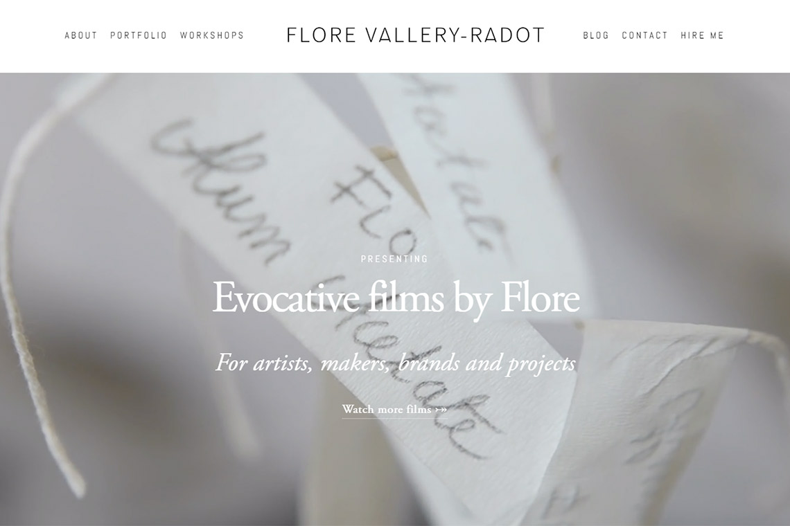 Flore Vallery-Radot new website and Photo Film Portfolio